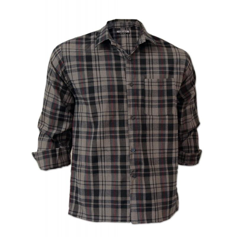 خرید اینترنتی پیراهن مردانه چهارخونه پارچه کتان صابونی