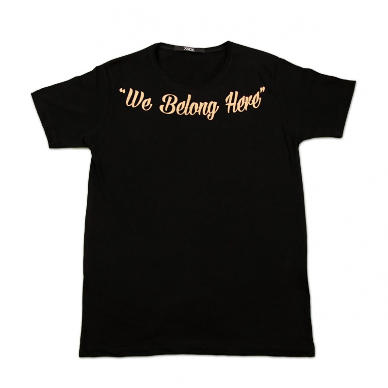 تیشرت مشکی چاپ طلایی Belong