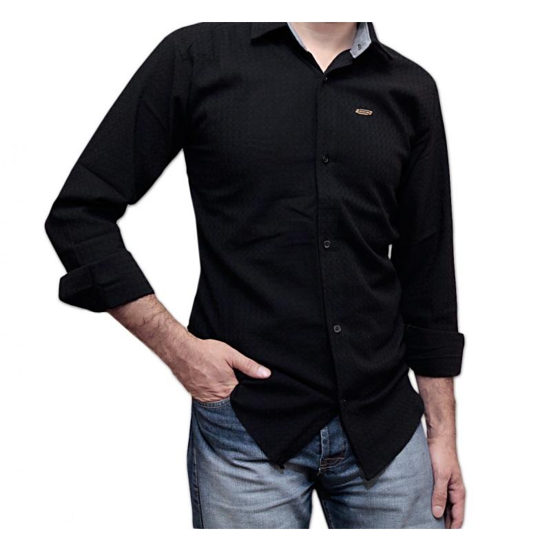خرید پیراهن اسلیم فیت کشی مشکی