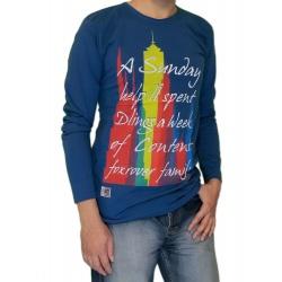 تی شرت نخ پنبه آبی