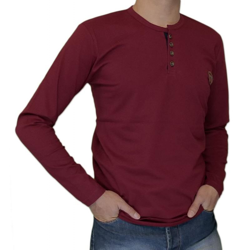 خرید تی شرت دکمه دار آستین دار