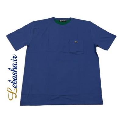 تیشرت سایز بزرگ آبی جیب دار