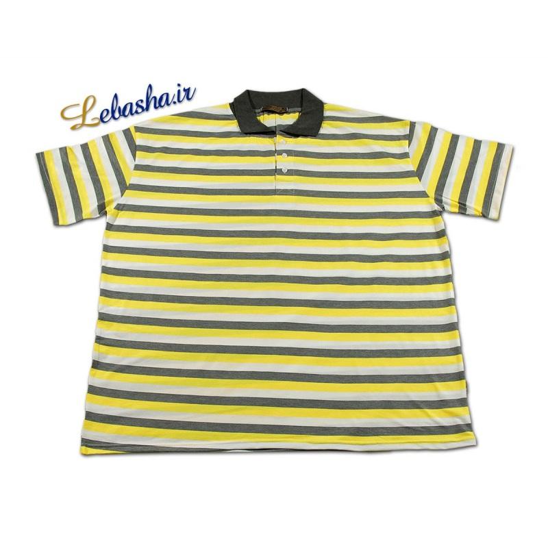تی شرت راه راه سایز بزرگ زرد