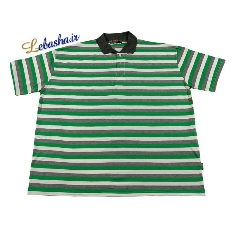 تی شرت راه راه سایز بزرگ سبز