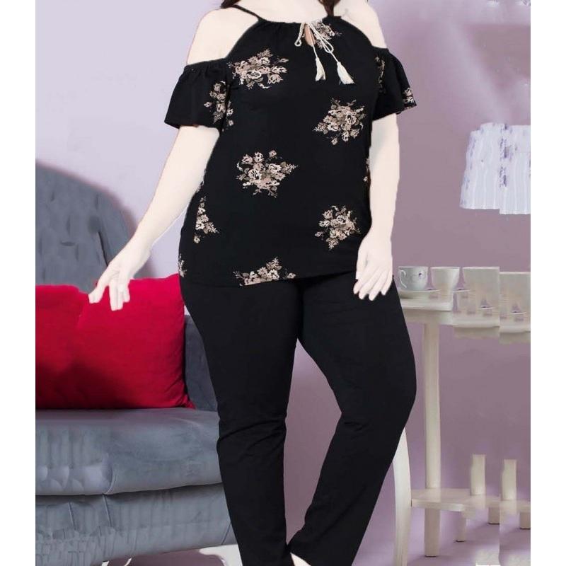 تیشرت شلوار زنانه دخترانه سایز بزرگ سکن 14056 sexen