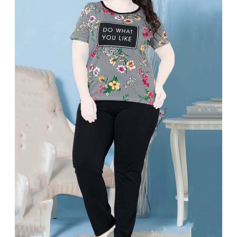 تیشرت شلوار زنانه دخترانه سایز بزرگ سکن 14067 sexen