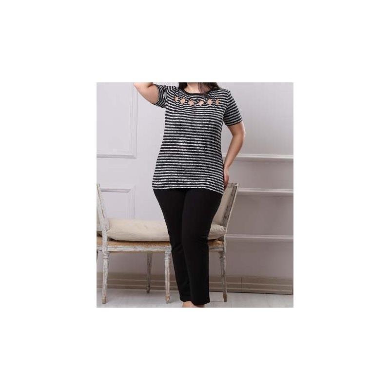 تیشرت شلوار زنانه دخترانه سایز بزرگ سکن 14094 sexen