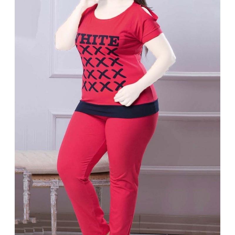 تیشرت شلوار زنانه دخترانه سایز بزرگ سکن 14101 sexen