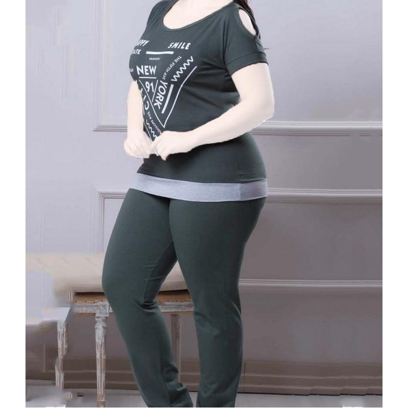 تیشرت شلوار زنانه دخترانه سایز بزرگ سکن 14103 sexen