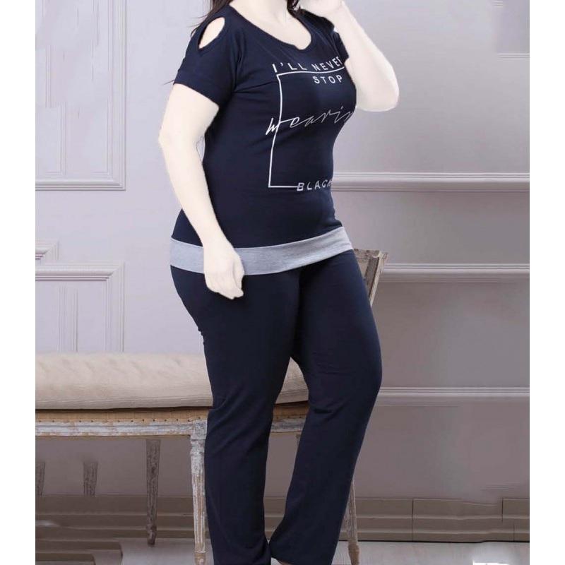 تیشرت شلوار زنانه دخترانه سایز بزرگ سکن 14104 sexen