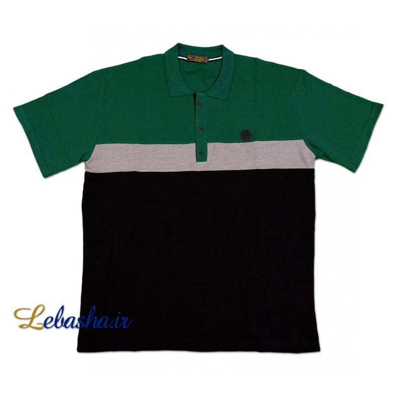 تیشرت رنگ سبز سه تکه جودون سایز بزرگ یقه دار سه دکمه 1793