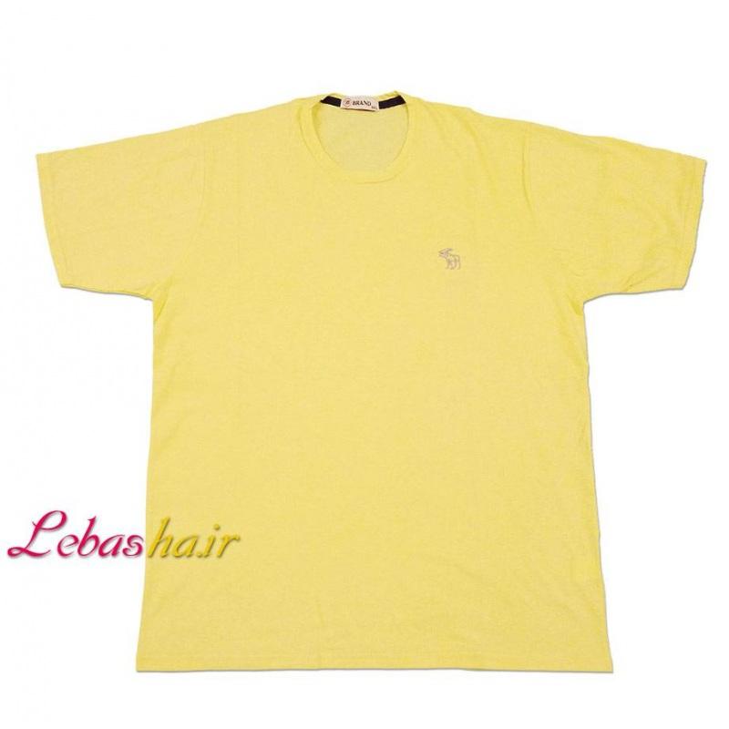 تیشرت رنگ لیمویی سایز بزرگ 5 ایکس یقه گرد صد در صد پنبه