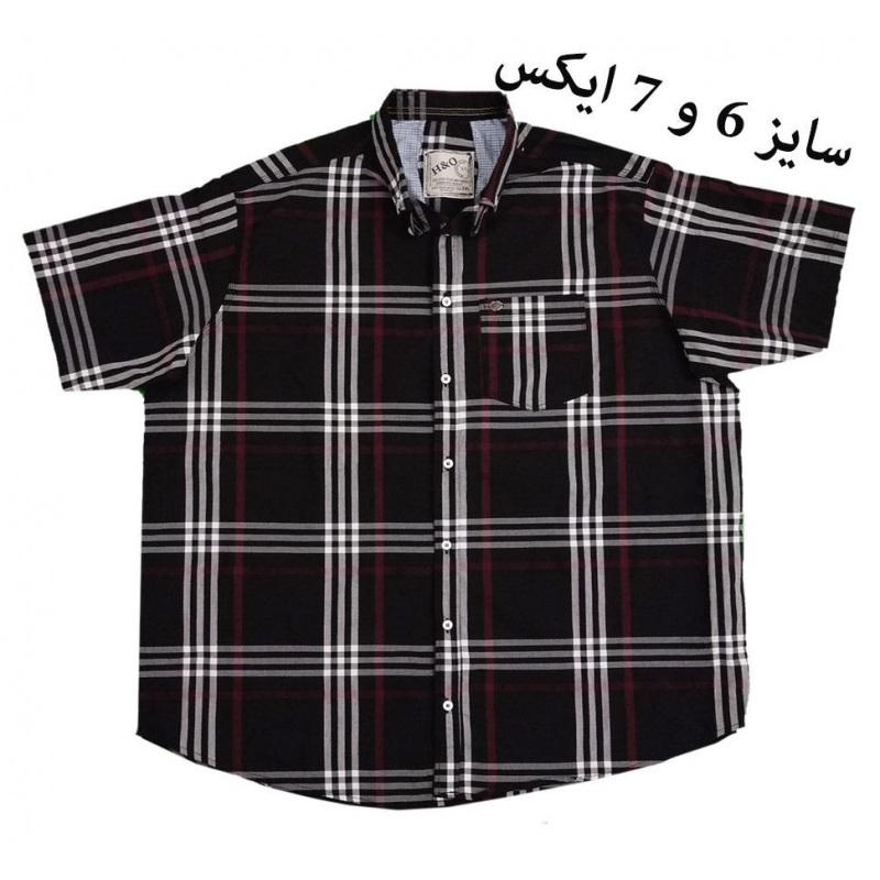 پیراهن سایز خیلی بزرگ چهار خانه  با پارچه شست رفته 1850 مشکی