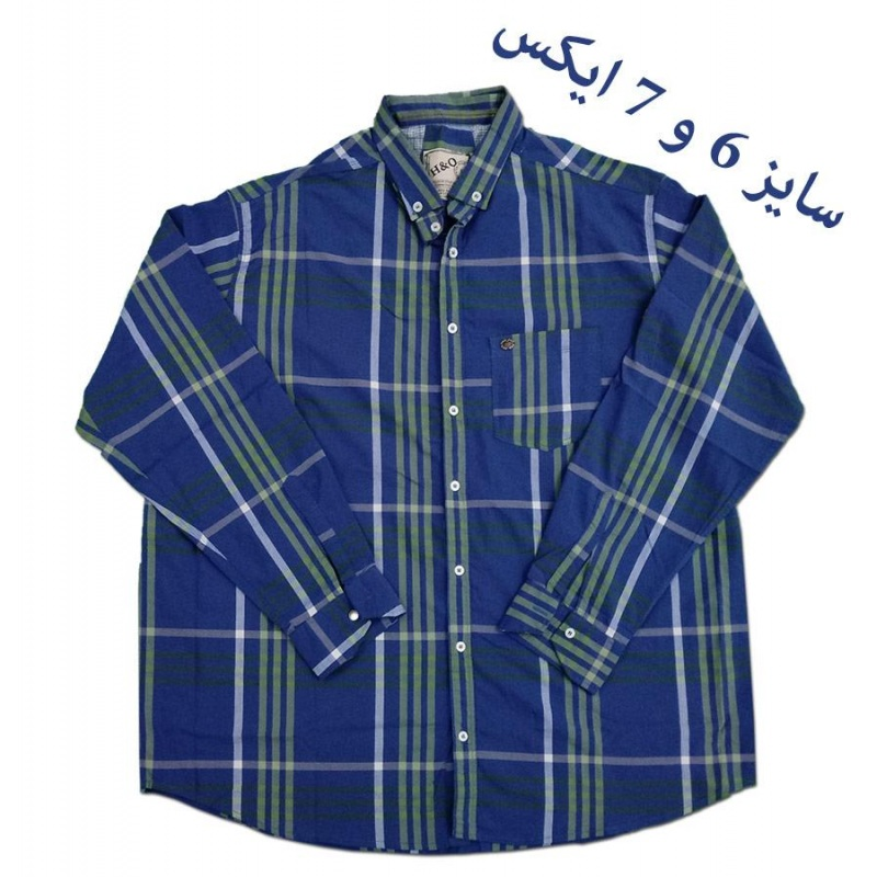 پیراهن سایز خیلی بزرگ چهار خانه ریز با پارچه شست رفته 1848 طوسی