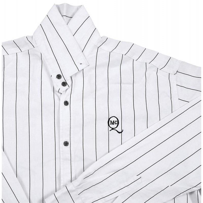 پیراهن سایز بزرگ راه راه آستین بلند کد 2023 سفید