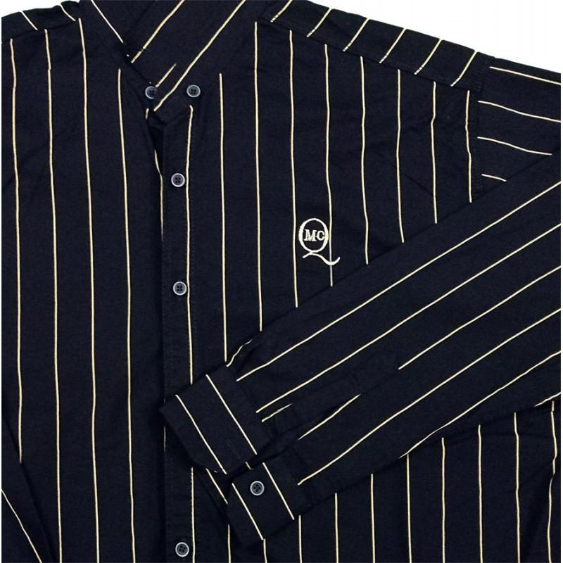 پیراهن سایز بزرگ راه راه آستین بلند کد 2026  رنگ سرمه ای