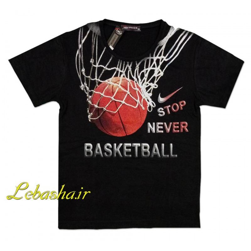تیشرت سایز بچه گانه بسکتبال طرح توپ و تور و سبد بسکتبال پسرانه