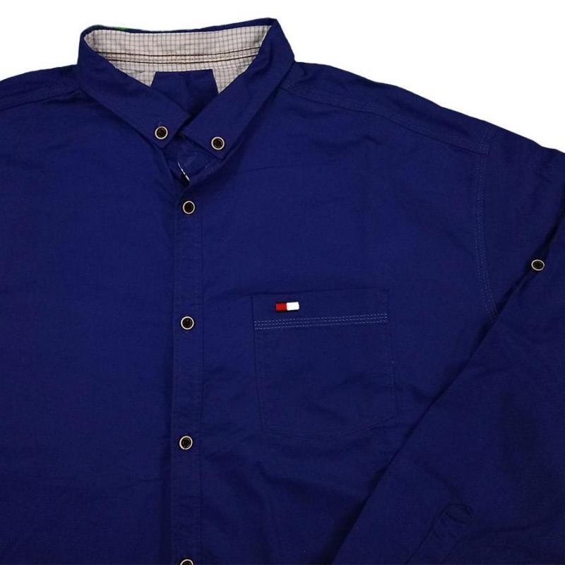 پیراهن سایز بزرگ کتان آبی جیب دار آستین بلند