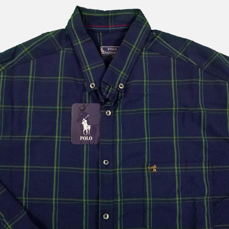 پیراهن سایز بزرگ چهارخونه جیب دار آستین بلند پولو