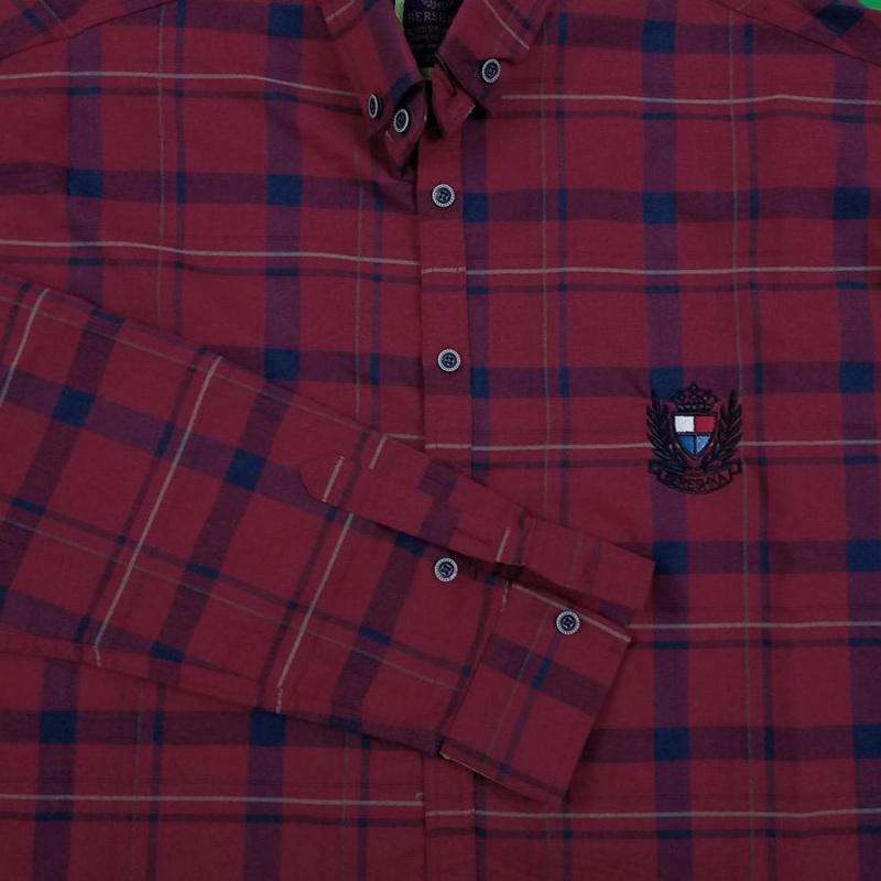 پیراهن سایز بزرگ چهارخونه رنگ قرمز خوش رنگ آستین بلند مردانه