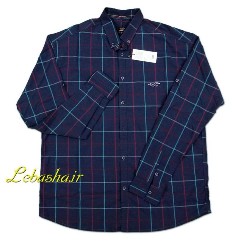 پیراهن چهارخونه سایز بزرگ رنگ خوش رنگ آبی تیره