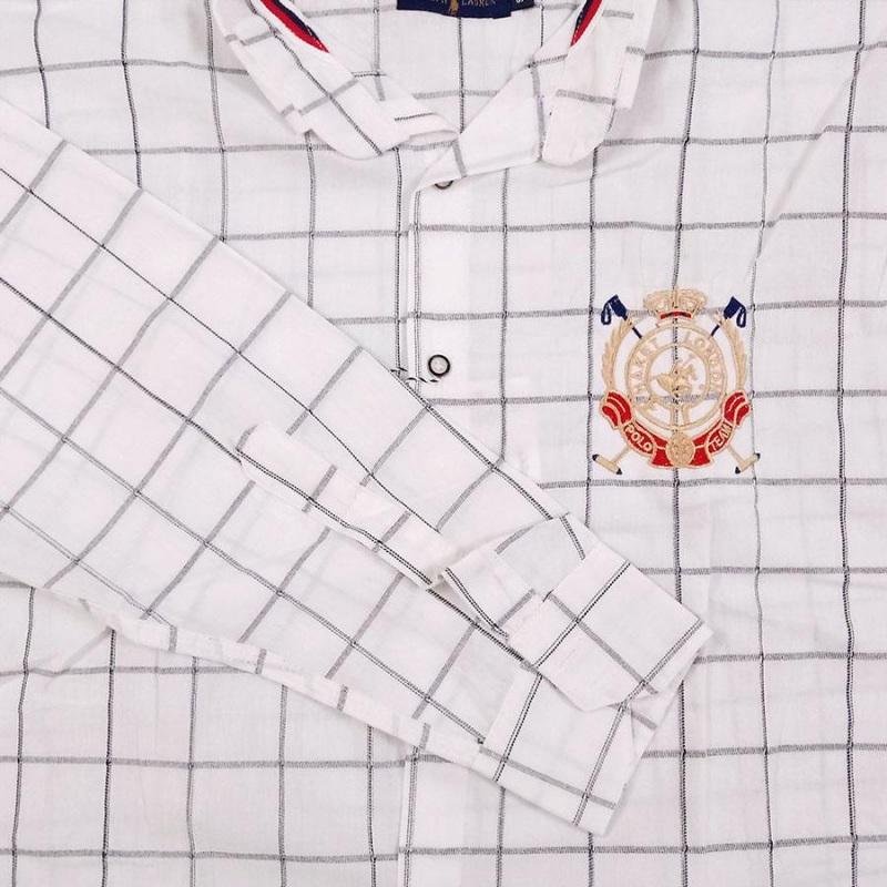 پیراهن چهارخونه سایز بزرگ پارچه پنبه پنبه بدون کش سفید گلدوزی شده