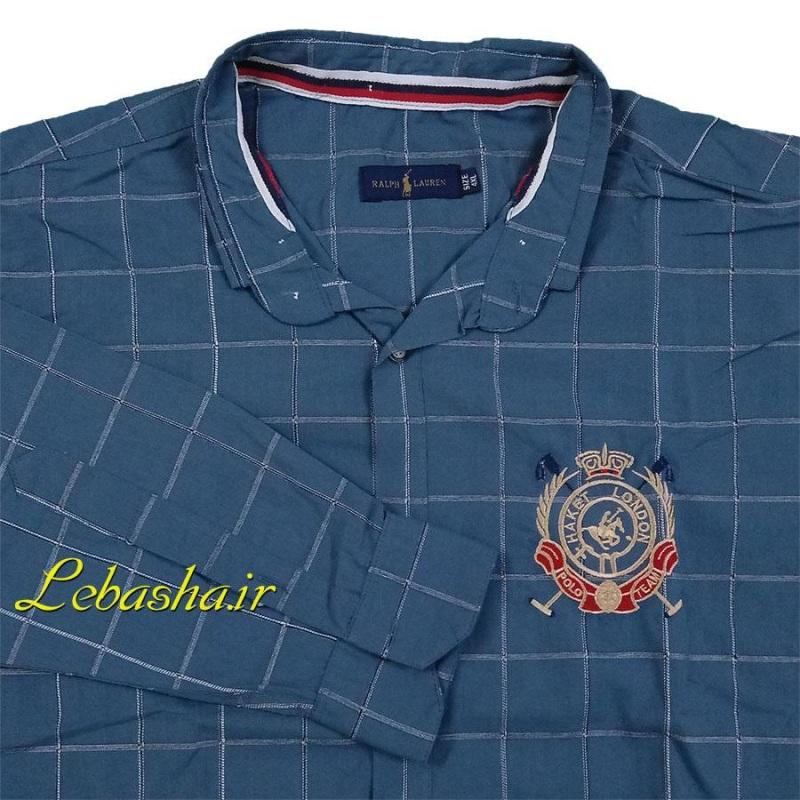 پیراهن چهارخونه سایز بزرگ پارچه پنبه پنبه بدون کش رنگ سربی طوسی مایل به آبی کم رنگ