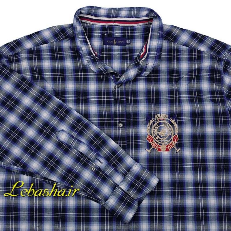 پیراهن سایز بزرگ چهارخونه پارچه پنبه بدون کش رنگ ترکیبی سفید مشکی آبی