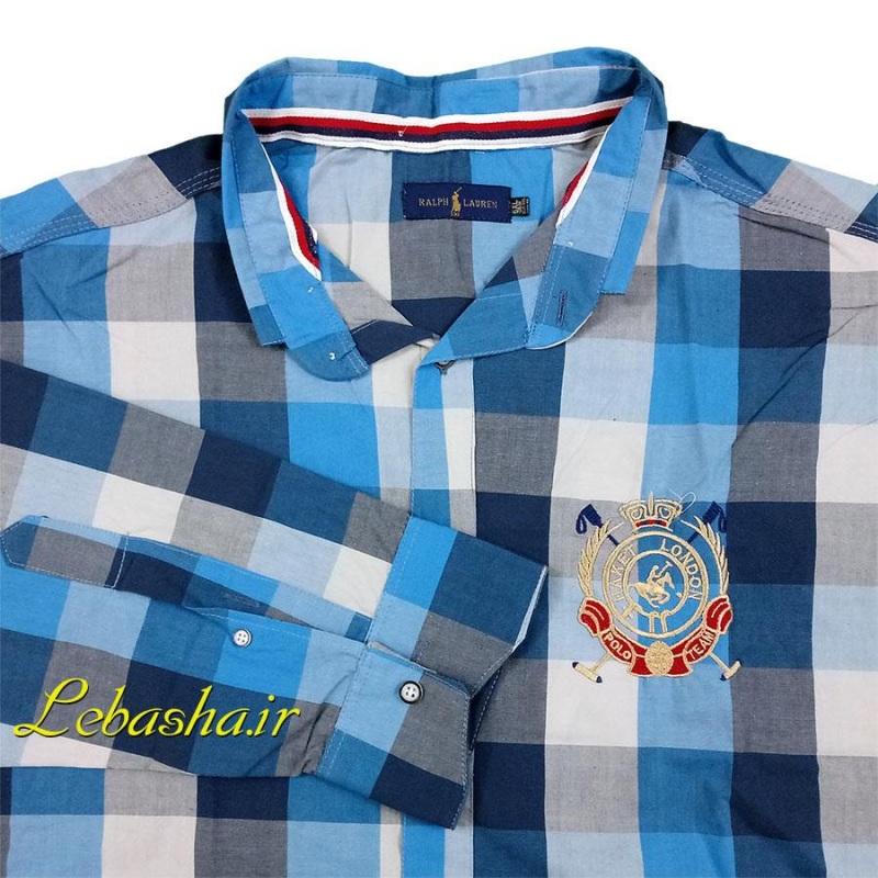 پیراهن سایزبزرگ چهارخانه جنس پنبه نازک آستین بلند با تهویه مناسب آبی