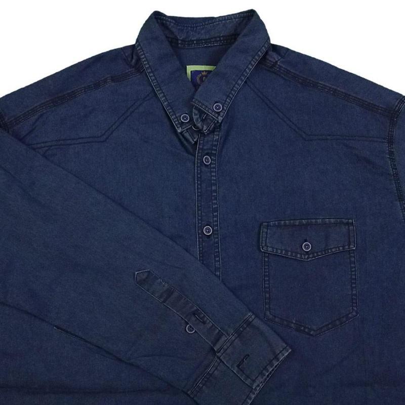 پیراهن لی دو جیب در دار رنگ آبی جنس جین کشی درجه یک