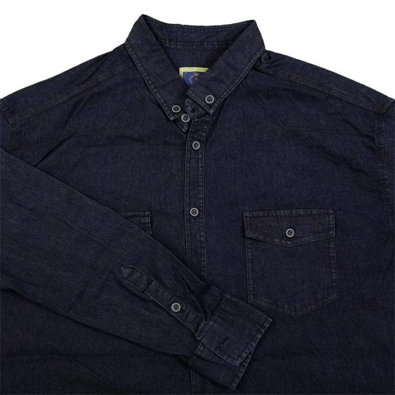 پیراهن لی دو جیب در دار رنگ سرمه ای جنس جین کشی درجه یک