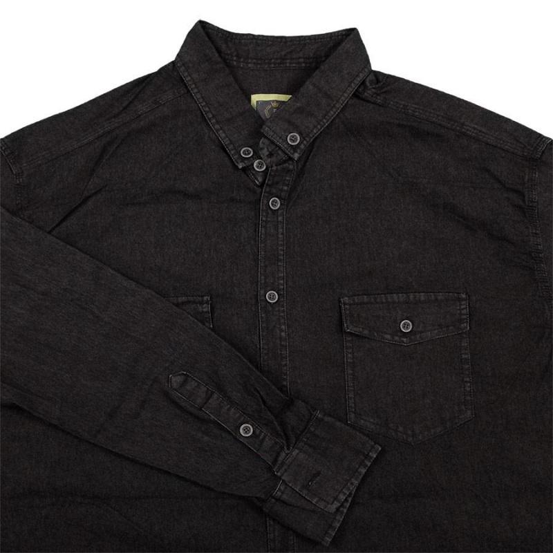 پیراهن لی دو جیب در دار رنگ مشکی جنس جین کشی درجه یک