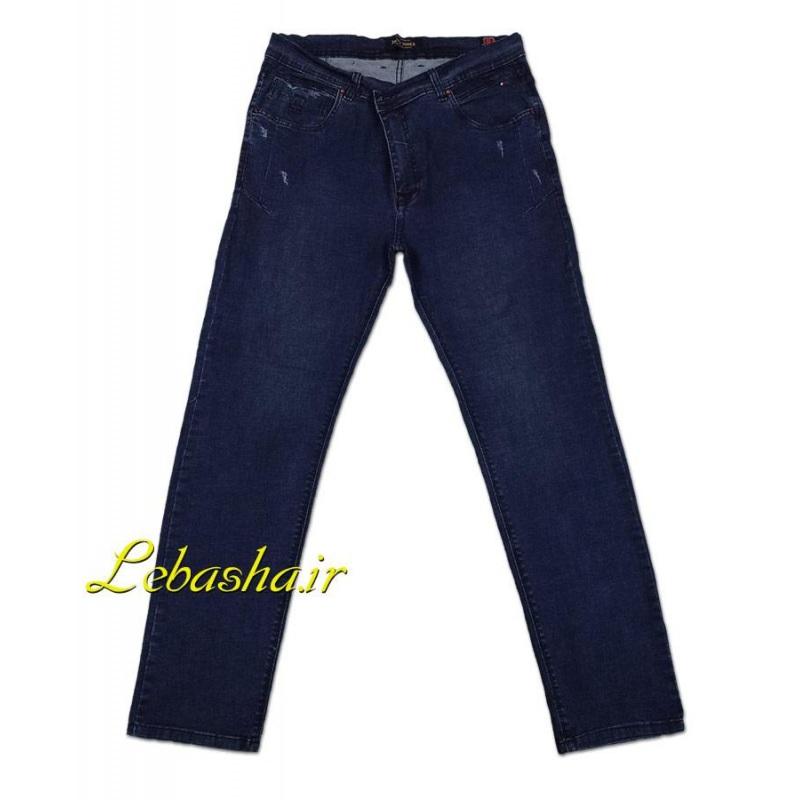 شلوار جین کشی سایز بزرگ رنگ آبی تیره با قابلیت کشسانی عالی استرچ