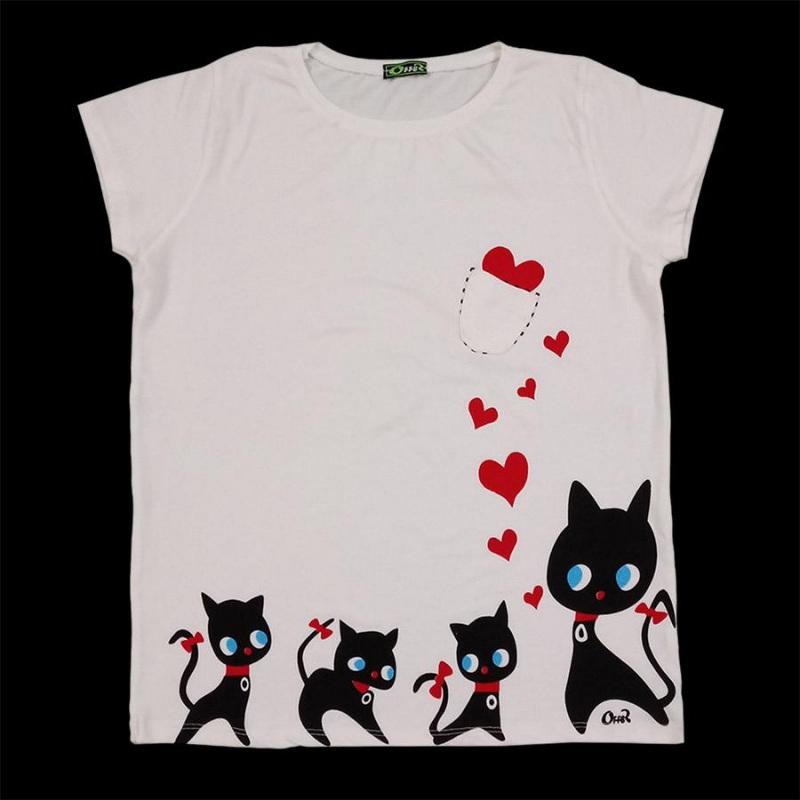 تیشرت زنانه سفید تیشرت دخترانه با چاپ قلب و گربه با جیب فانتزی