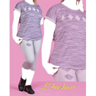 تیشرت شلوارک زنانه سایز میانه 40 تا 48 سایز بزرگ طرح لوزی