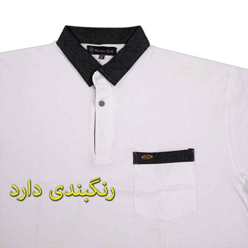 تیشرت جیب دار یقه دار سه دکمه سایز بزرگ