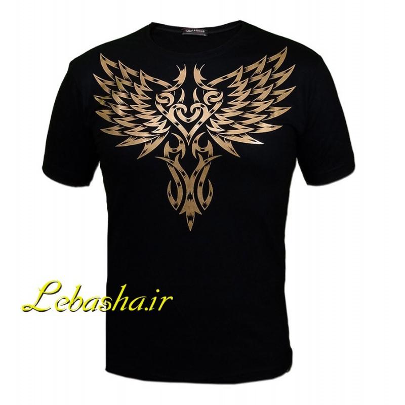 تیشرت تتو طلایی با الگویی گرافیکی و زیبا تاتو شبیه به بال های عقاب