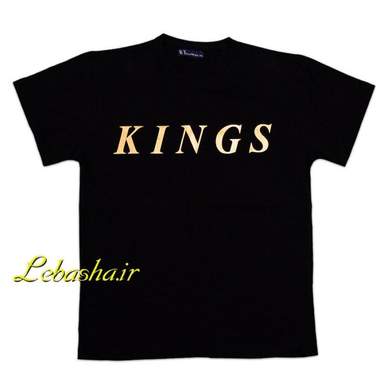 تیشرت کینگز سایز بزرگ با زمینه مشکی و چاپ طلایی کنیگ