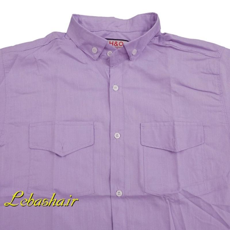 فروش پیراهن سایز بزرگ دو جیب در دار آستین کوتاه جنس پنبه تمام نخی بسیار خنک و سبک رنگ یاسی