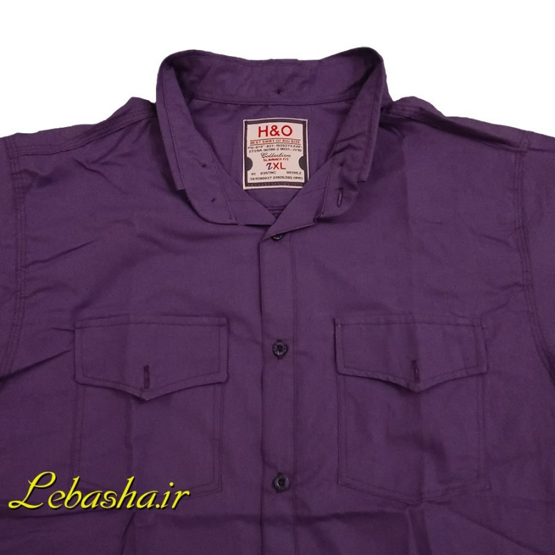 پیراهن سایز بزرگ دو جیب در دار آستین کوتاه رنگ بنفش