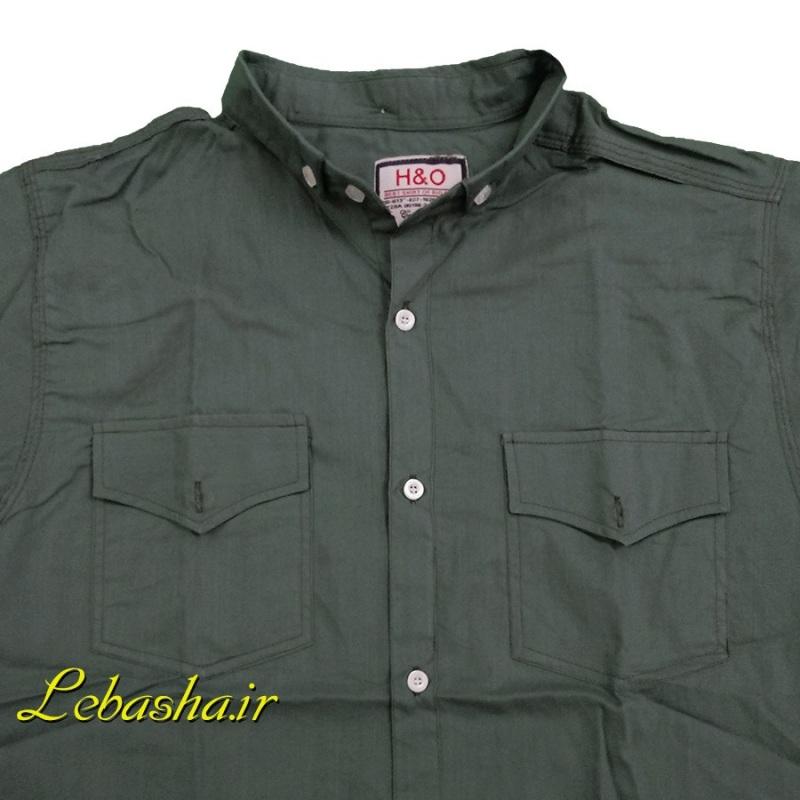 فروش پیراهن سایز بزرگ دو جیب در دار آستین کوتاه رنگ سبز