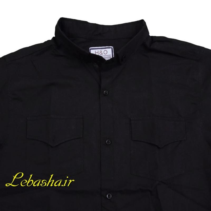 پیراهن سایز بزرگ دو جیب در دارنخی بسیار خنک و سبک رنگ مشکی