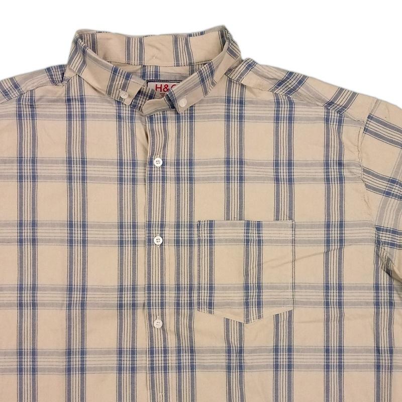 پیراهن سایز خیلی بزرگ جیب دار پنبه نخی کشی رنگ کرم