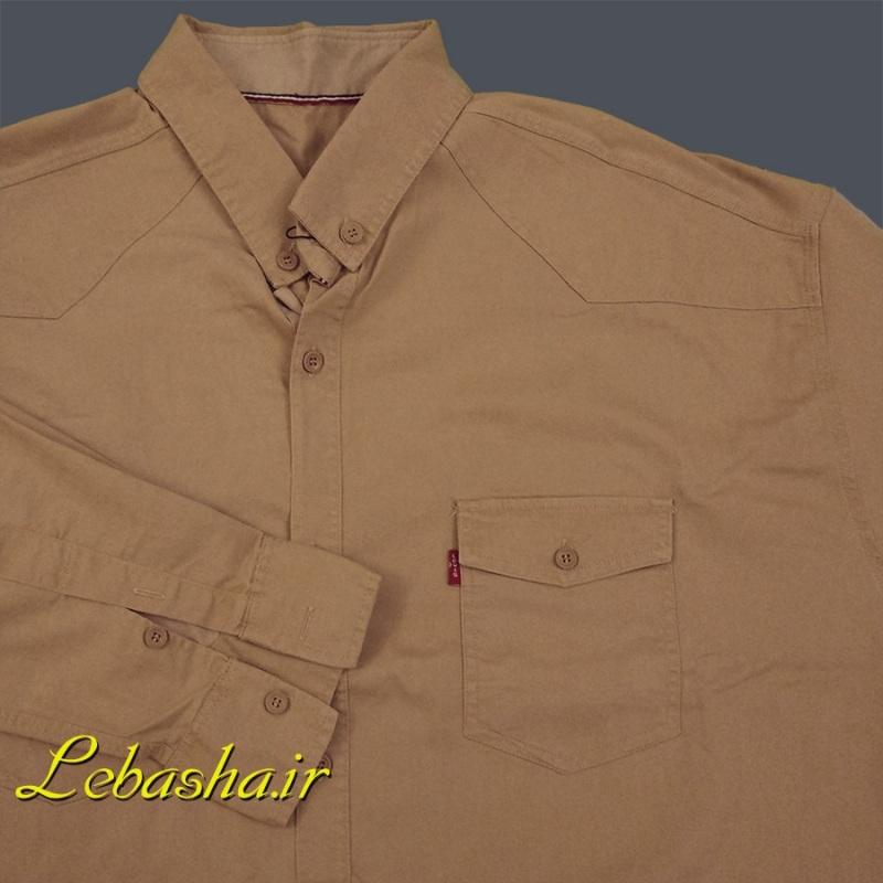 پیراهن سایز بزرگ دو جیب آستین بلند رنگ کرم