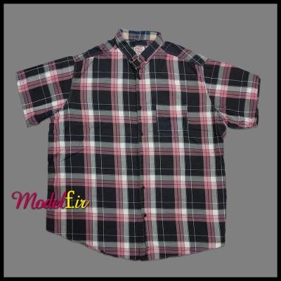 پیراهن سایز بزرگ چهارخونه جیب دار