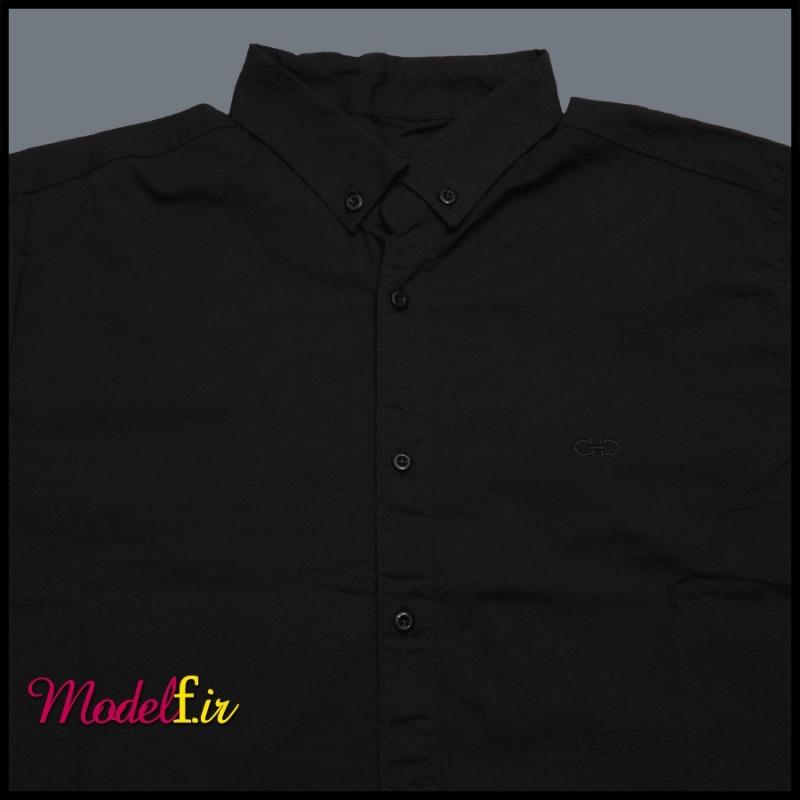 پیراهن آستین بلند سایز بزرگ مشکی مردانه