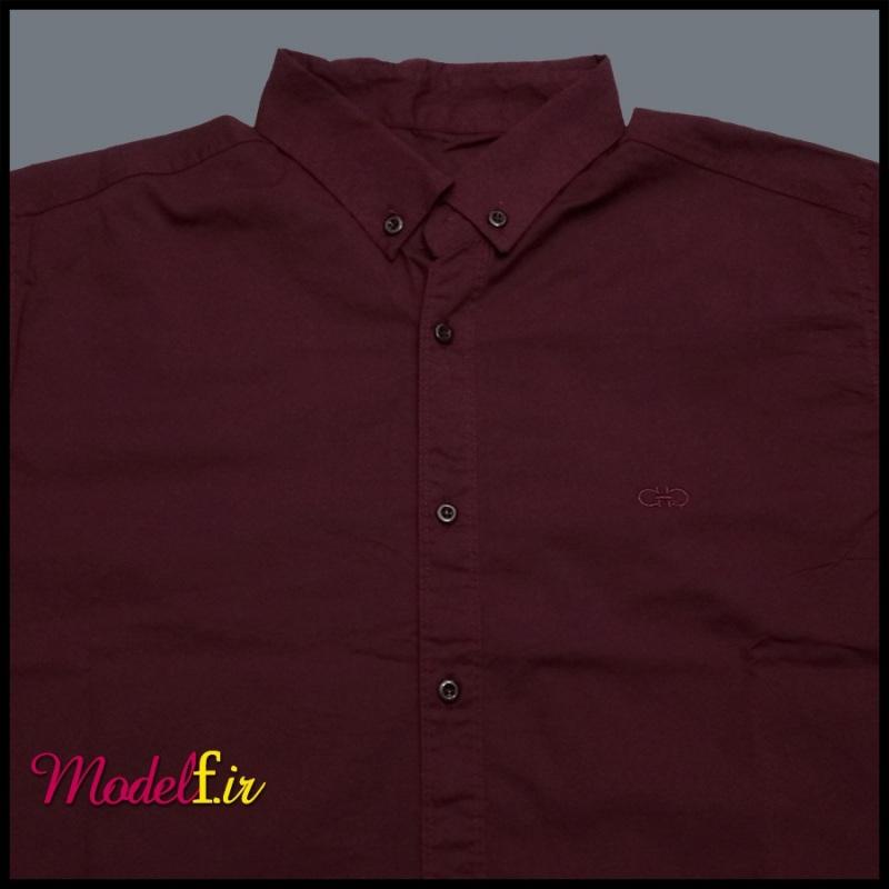 پیراهن آستین بلند سایز بزرگ زرشکی