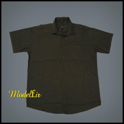 پیراهن آستین کوتاه سایز بزرگ رنگ سبز زیتونی