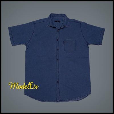 پیراهن آستین کوتاه جین آبی جیب دار