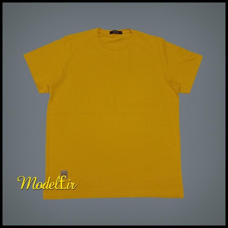 تیشرت زرد  ساده سایز بزرگ